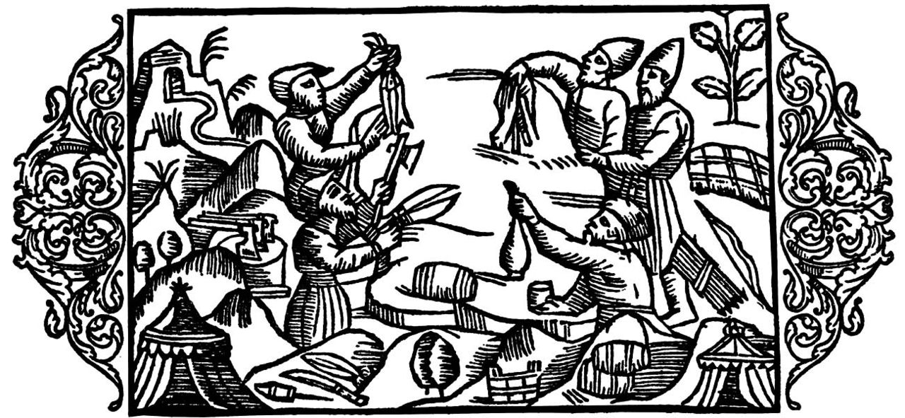 Scandinavian and Russian traders bartering their wares. Olaus Magnus, 1555