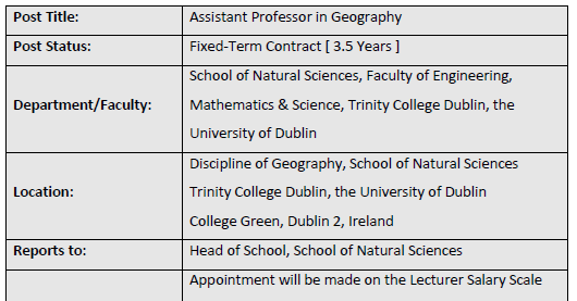 Assistant Professor (3.5yr contract) Geography, Trinity College Dublin